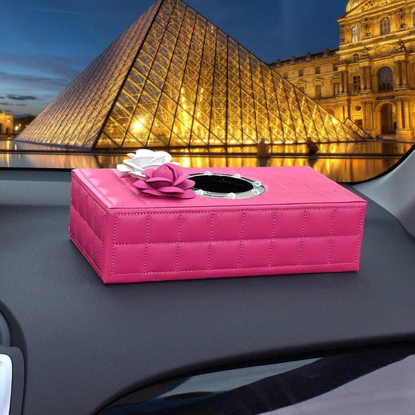 Hot Pink Tissue Box with Pink and White Camellia for Dashboard