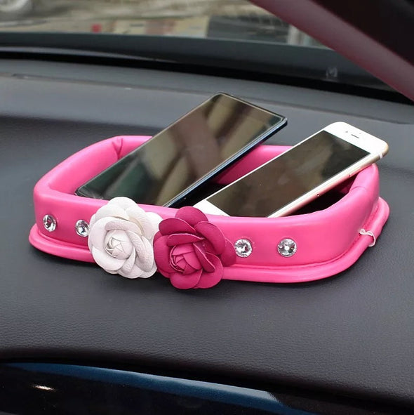 Hot Pink Car Dashboard Anti-slippery Organizer Mobile Phone Sunglasses Holder with Camellia