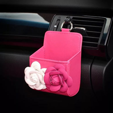 Hot Pink Car Air Vent Sunglasses cell phone holder with Pink and White Camellia