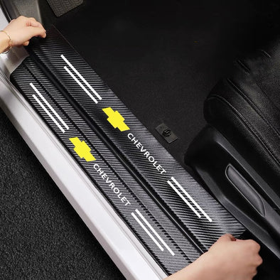 Chevrolet Chevy Custom Door Sill or Rear Bumper Protection Cover Anti-Scratch Stickers Decal with LOGO