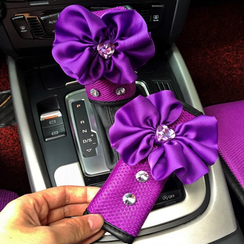 Purple Hand Brake & Gear Shift Cover 2-pieces-Set with Rhinestone and Flowers