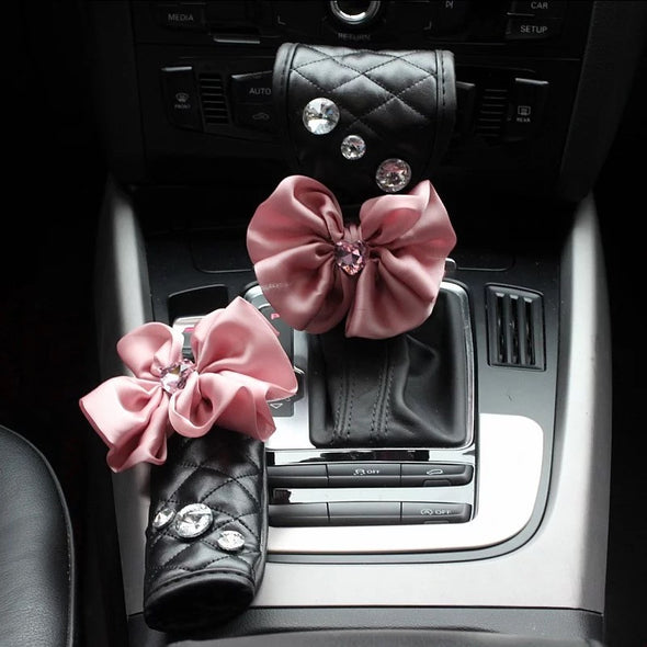 Black Vegan Leather Hand Brake & Gear Shift Cover 2-pieces-Set with Rhinestone and Pink Flowers
