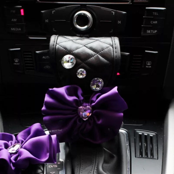 Black Vegan Leather Hand Brake & Gear Shift Cover 2-pieces-Set with Rhinestones and Purple Flower