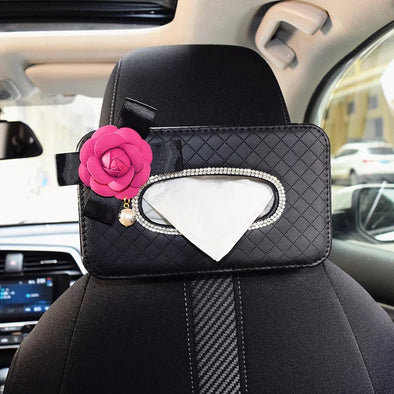 Black Car Seat Back Tissue Box with Bling Camellia