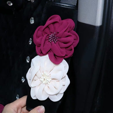 Black PU Seat Belt Cover with Pink Flower and Bling Rhinestones