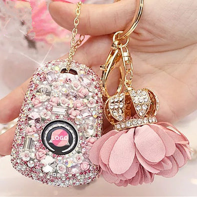 Bling Car Key Holder with Rhinestones for Cadillac ATS-L CT6 XTS XT5 CTS SRX - Pink