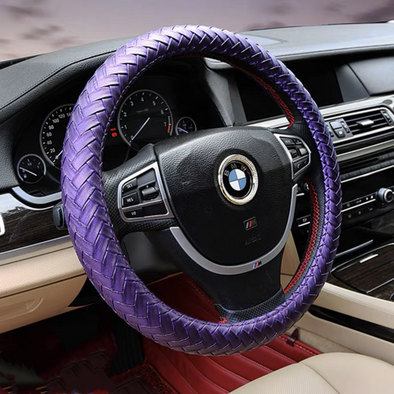 Braided Leather Steering wheel cover - Purple