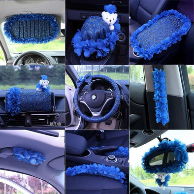 BOHO Blue Steering wheel cover, seat belt cover, center console cover, grab handle car accessories set
