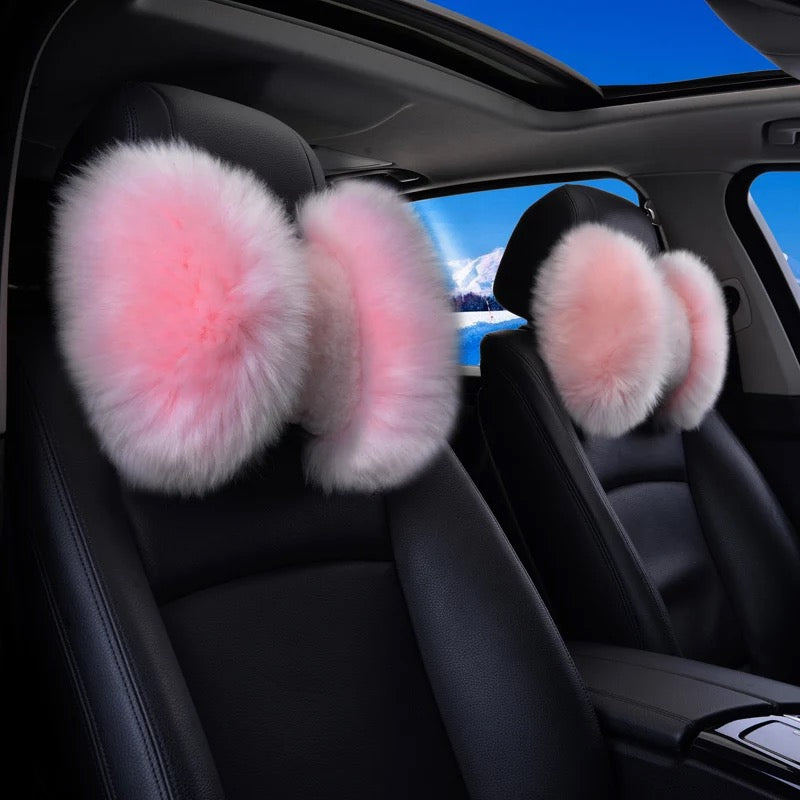 Genuine Sheepskin Fur Bow Shaped Warming Car Seat Headrest Pillow Carsoda