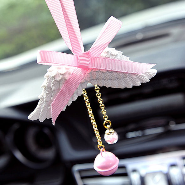 Bling Mirror Charm - Angel Wing and Pink bow Ornaments Pendant