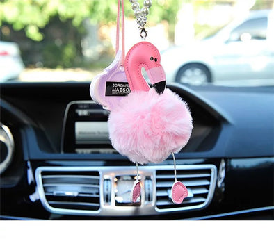 Flamingo Mirror Charm Car Rear View Mirror Pendant Ornament