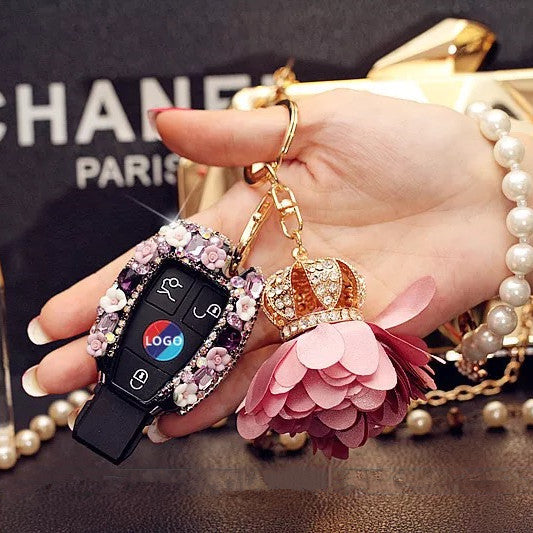 Mercedes Benz Purple Bling Car Key Holder with Rhinestones and flowers