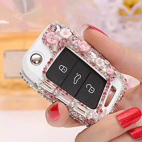 Bling Car Key Holder with Rhinestones for VW Golf GTI Scoda Touran - Pink