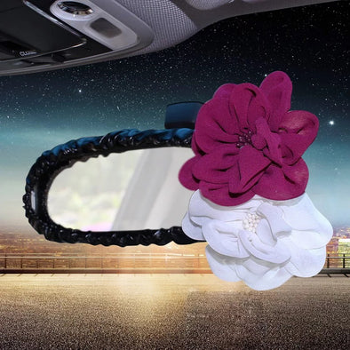 Black Vegan Leather Rearview Mirror Cover with Rosa