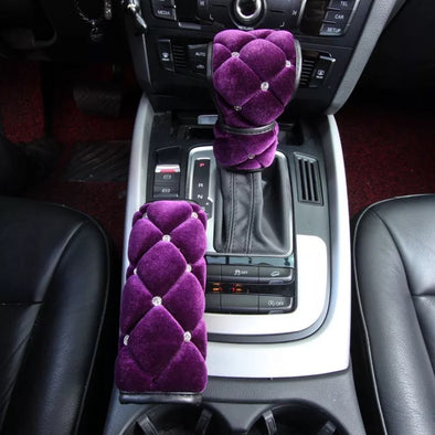 Purple Velvet Bling Hand Brake & Gear Shift Cover 2-pieces-Set with Rhinestones