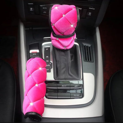 Hot Pink Velvet Bling Hand Brake & Gear Shift Cover 2-pieces-Set with Rhinestones