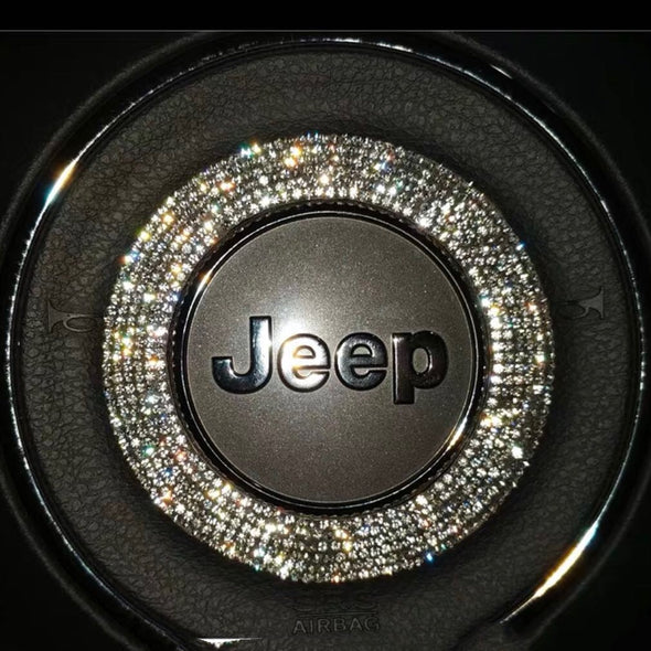 Bling Jeep Emblem Decal for Steering Wheel LOGO Sticker