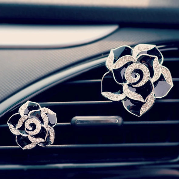 Bling Camellia Flower Car Air Vent Bling Decoration with Air Freshener