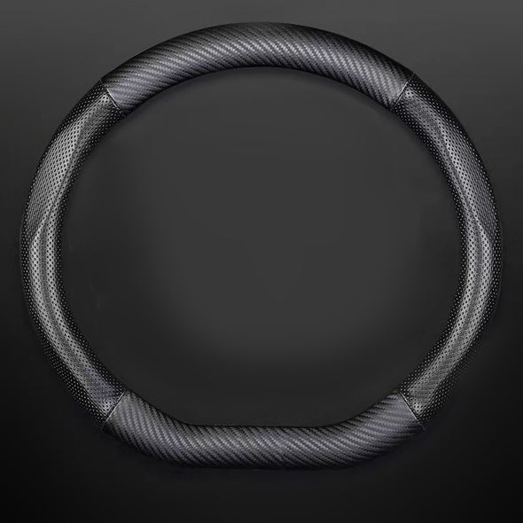 D-Shaped Black Carbon Fiber Steering wheel cover