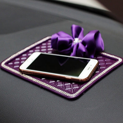 Purple Car Dashboard Anti-slippery Mat Mobile Phone Holder with Chiffon Flower