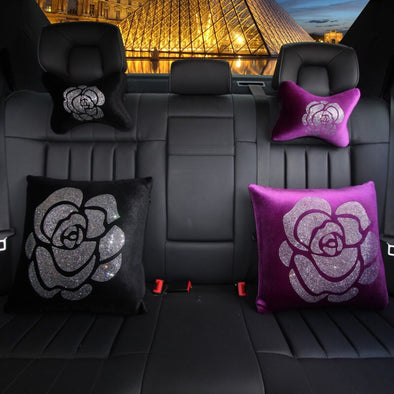 Velvet Bone Shaped Car Cushion Headrest Pillow with Bling Camellia