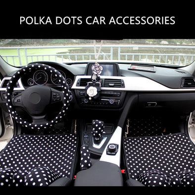 Polka Dots Car Accessories Set -Neck Pillow Gear shift brake Seat Belt cover