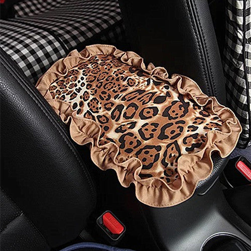 Leopard Car Center Console Cover Armrest Pad With Lace Fringe