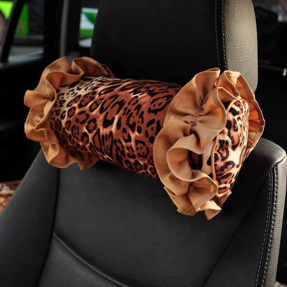 Leopard Decorative Pillows with Ruffles for Cars