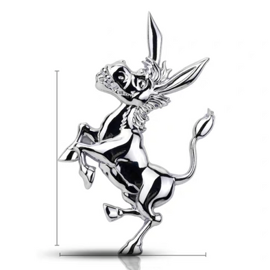 3D Chrome Metal Donkey Car Decal Bumper Sticker
