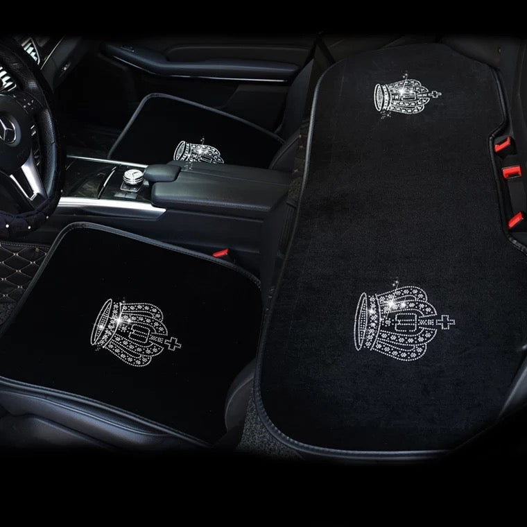 How To Unlock Steering Wheel >> Black Velvet Car Seat cover with bling Crown For Winter ...