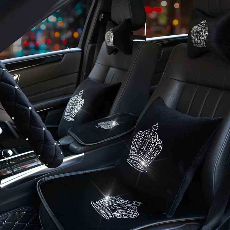 Black Velvet Car Seat Cover With Bling Crown For Winter Carsoda