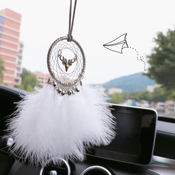 BOHO White Dream Catcher Car Mirror Charm Ornaments Rearview Mirror Pendant Feather