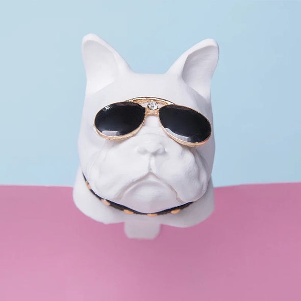 Ivory French Bulldog  Frenchie Dog Car Air Vent Bling Decoration with Air Freshener DIY clip Super Cool