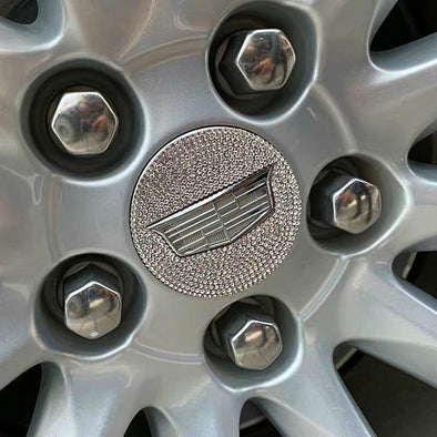 Bling Cadillac LOGO Stickers for Tire wheel Center Caps Emblem Decal Made w/ Rhinestone Crystals