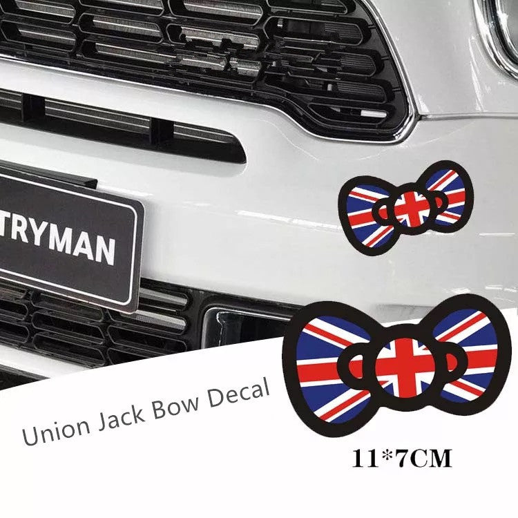 Mini Cooper Decal Jack Union Bow Cute Sticker Beetles