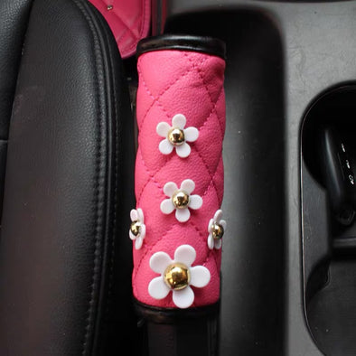 Hot Pink Vegan Leather Hand Brake & Gear Shift Cover with Daisy 2-pieces-Set