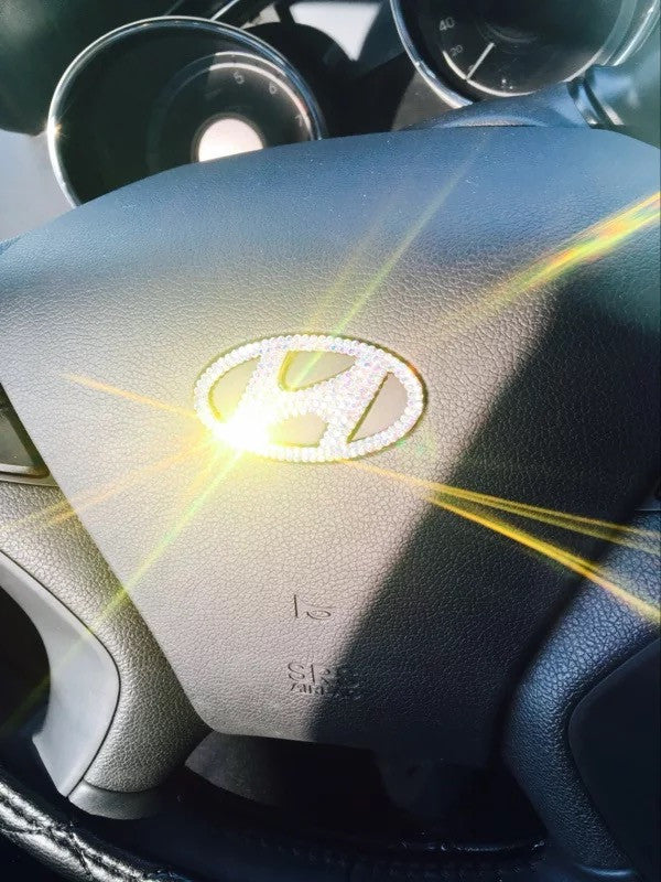 Hyundai Bling Steering Wheel Logo Sticker Decal Carsoda