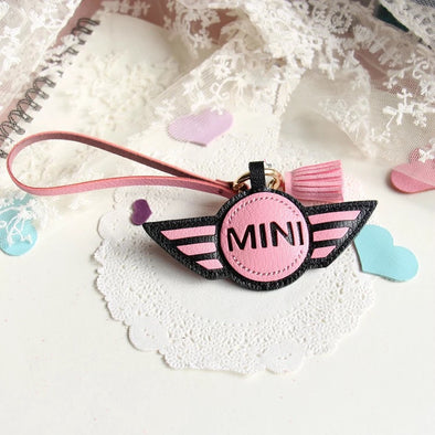 Personalized MINI COOPER Keychain leather Holder Cover charm pendant Ornament