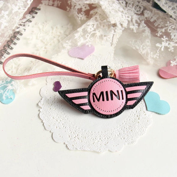 Personalized MINI COOPER Keychain leather charm pendant Ornament