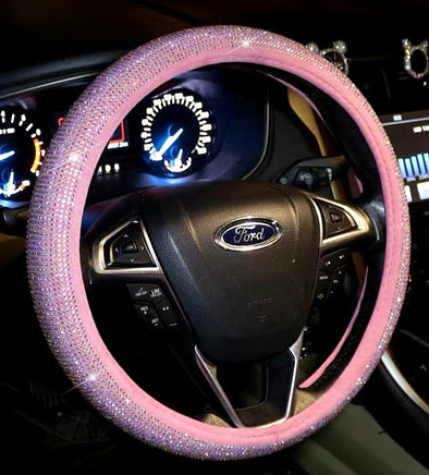 Pink Bedazzled Bling Sparkle Steering Wheel Cover Round/D shaped