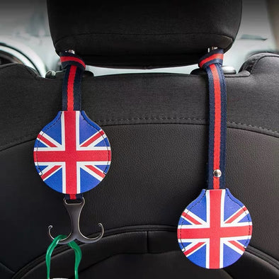 Car Seat Hooks Hanger for BMW Mini Jack union checkers rainbow bulldog patterns