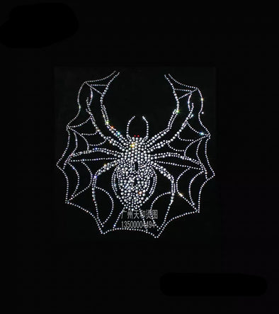 Spider Heat Transfer Iron on Rhinestones Bling Spider Decal Emblem for DIY