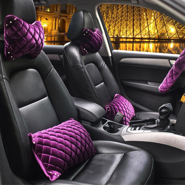 Neck Support For Car Seat - Velvet with Rhinestones purple/hot pink/black