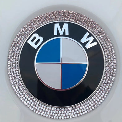 Bling BMW LOGO Front or Rear Grille Emblem Ring Decal Rhinestone Crystals LOGO