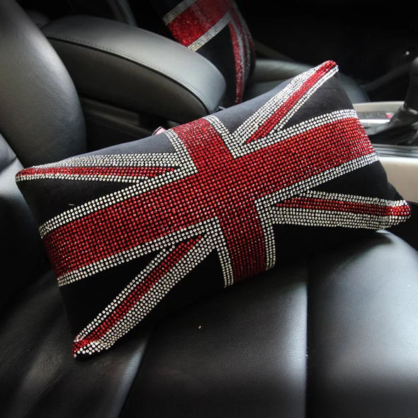 Bling Union Jack Headrest Pillow for Cars