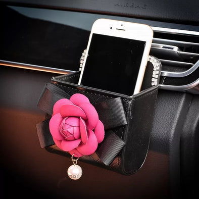 Car Cell Phone Holder - Bling with Camellia
