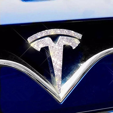 Bling Tesla LOGO Front Grille Rear Trunk Emblem Made w/ Rhinestone Crystals Model S/X and Model 3