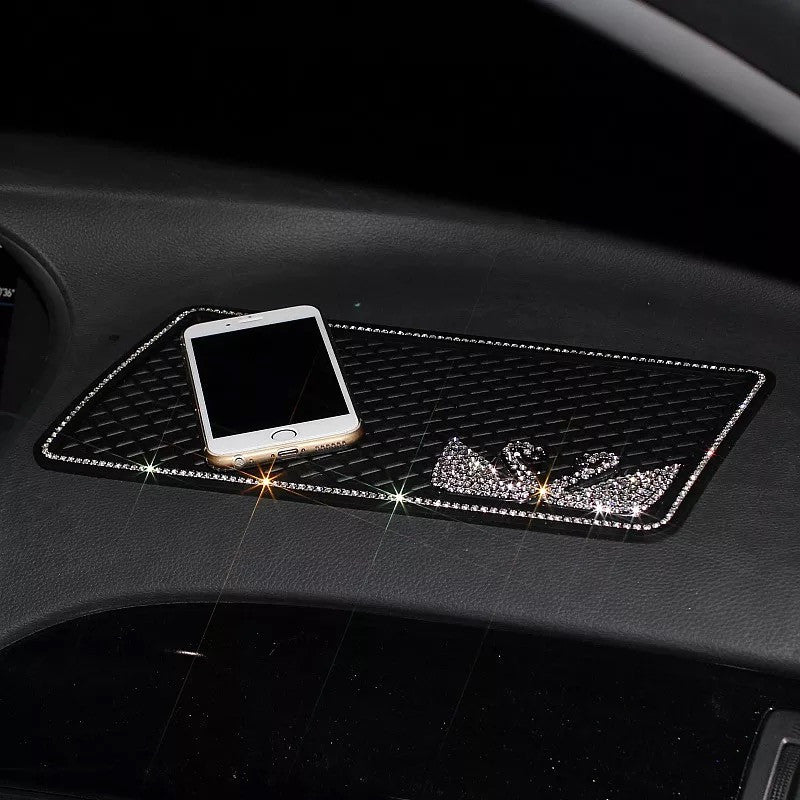 Car Dashboard Anti-slippery Mat Mobile Phone Holder with Bling Swan