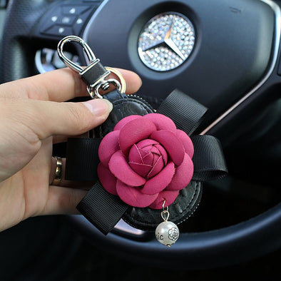 Leather Key Holder with Camellia