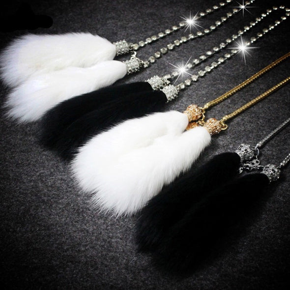Faux Fur Bling Charm Rear View Pendant